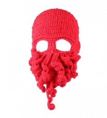 JXUFUFOO Beanie Octopus Knight Knit Beard Hat Unisex - Red - CU185Z787OY