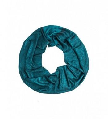 Bohomonde Rajeshri Rare Pashmina Silk Infinity Scarf - Dark Teal - CE12MX6NME2