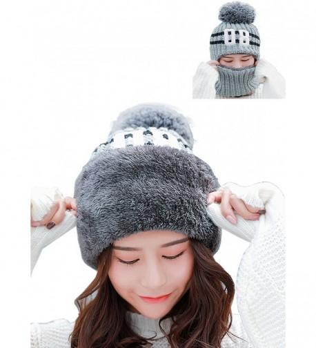 WFLB Womens Warm Scarf Earflap Hood Scarves Beanie Hat Fleece Lined Knit Winter Skull Cap Cuff Beanie - Grey - C3188KOMETL
