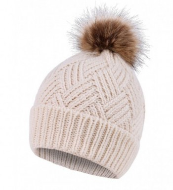 Women's Diamond Weave Knit Faux Fur Pompom Winter Beanie - Cream - CY18833R7IG