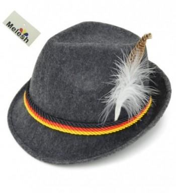 Melesh Adult Felt Swiss German Alpine Bavarian Oktoberfest Hat Cap - CK12O8L0GHA