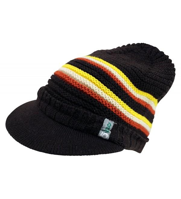 Enimay Men's Women's Visor Beanie Cap Warm Winter Hat Knitted Bill Soft Fuzzy - Brown - C612CH163KR