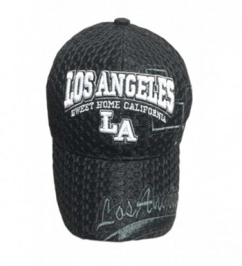 Aesthetinc 3D Embroidered Mesh Los Angeles LA Print Baseball Cap Hat - Black - C512C231LKH