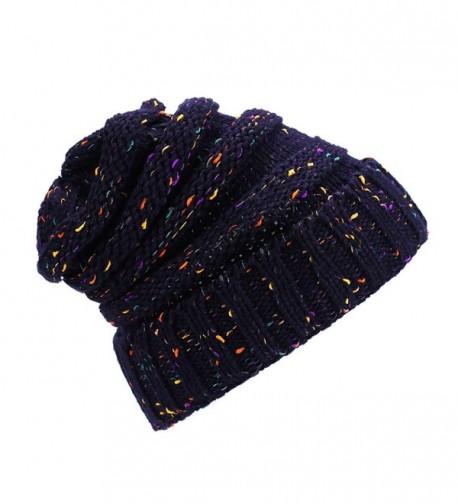 iParaAiluRy Slouchy Knit Beanie Women - Navy - CC187I4M0YC