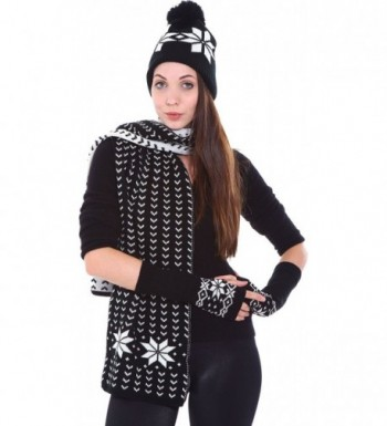 Simplicity Adult Sizes Winter Knit Scarf Beanie Gloves Set - Snow-black - CS11GQHRT61