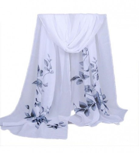 "Women's Fashion Long Shawl Buedvo Ladies Chiffon Soft Wrap Flowral Print Scarf (63""x19.7""- Gray) - CQ12ODCTVKB"