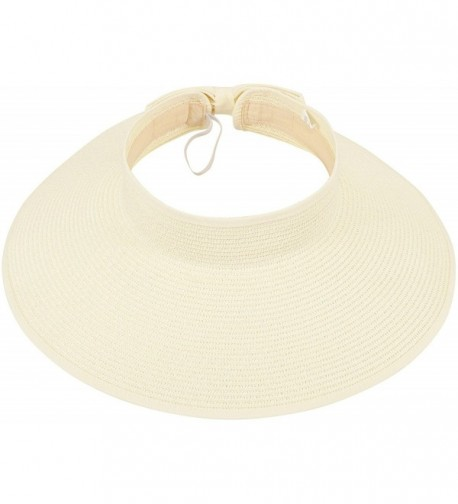Simplicity Women's Roll Up Striped / Ribbed Wide Brim Straw Sun Visor - Ribbed_ivory - CE118WYLLVP
