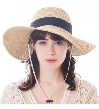 Sun Women Straw Hat UPF 50+ Beach Finshing Hats for Women Bucket Hat with Neck Cord - Wide Brim-beige - CQ180RLCT2N