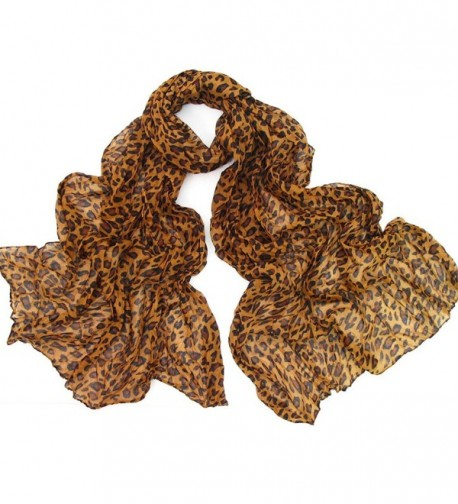 Womens Brown Leopard Print Long Scarf for Winter and Autumn - C511OBQZI8Z