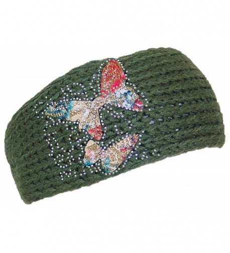 Best Winter Hats Womens Knit Headband W/Butterfly Applique & Rhinestones (One Size) - Green - CJ125W14IJ7