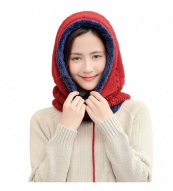 Leories Warmer Balaclava Knit Thicken Fleece Lined Hat Windproof Winter Outdoor Ski Neck Warmer - Red - C5188HXKQ3K