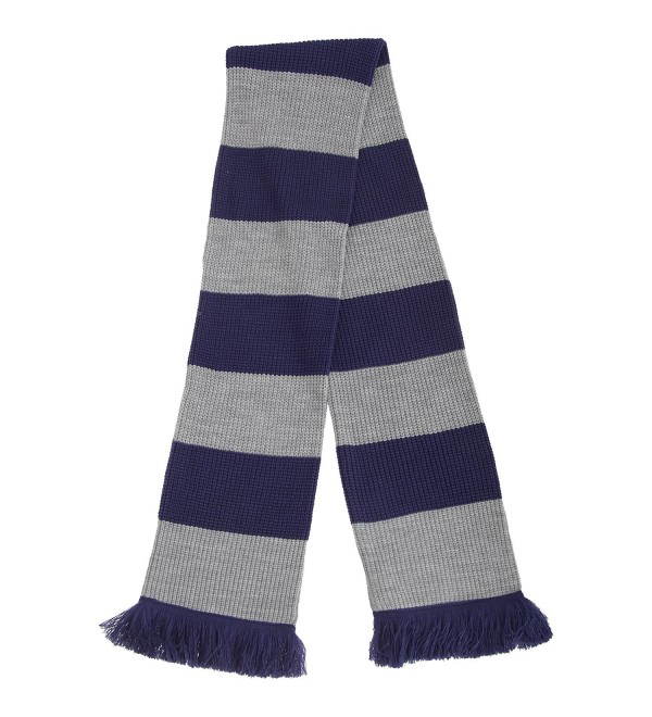 FLOSO Unisex House Style Knitted Winter Scarf With Fringe - Blue/SILVER - C212BCDAAK3