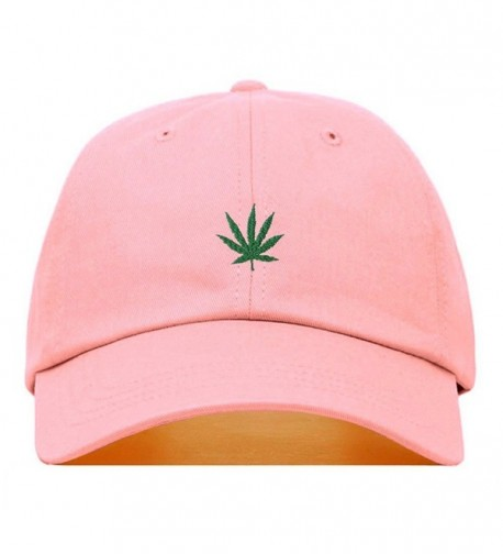 Marijuana Embroidered Baseball Unstructured Adjustable - Light Pink - CX187NIS95R
