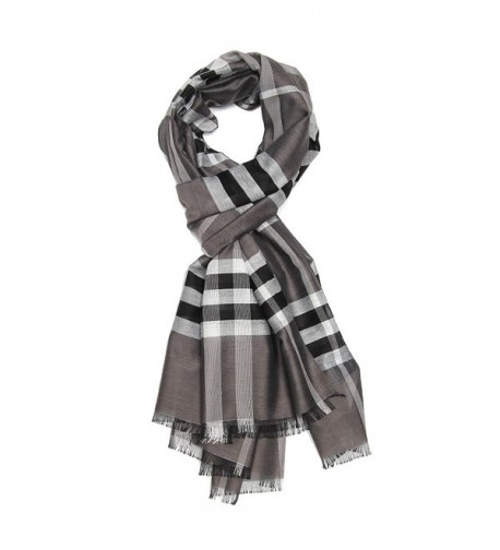 "Long Check / Plaid Scarf Lightweight Polyester Shawl Multi Colors 74.8""27.5"" - Color 4 - CF186IYQS0K"