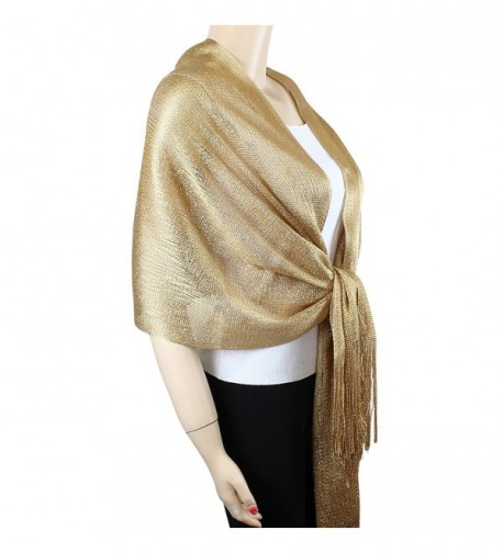 Shimmer and Shine Fringed Scarf - Gold - CC11M8W4DUD