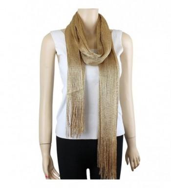 Shimmer Shine Fringed Scarf Gold in Fashion Scarves