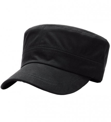 ALL IN ONE CART Men's Cotton Cadet Army Cap Flat Top Military Adjustable Strap Plain Baseball Caps - A-black - CU188Z3NMYW