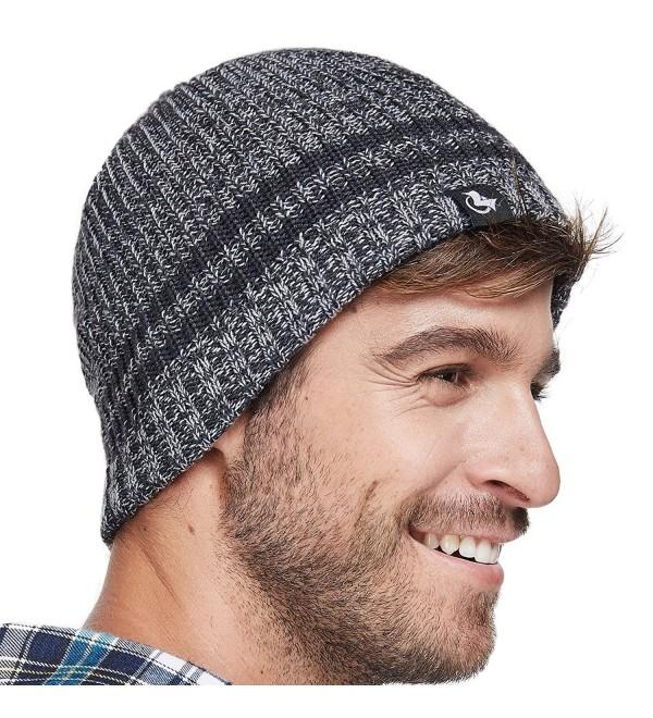 lethmik Merino Wool Skull Beanie-Mens Daily Warm Soft Winter Hat Stripe Mix Knit Cap - Dark Grey - C4186HGRUG3
