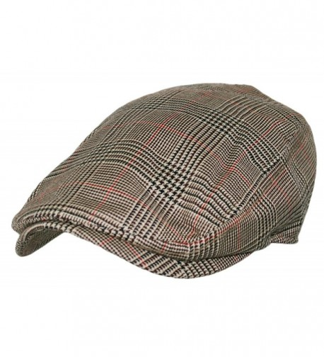Plaid Pattern Ivy Driver Hunting Flat Newsboy Hat (Light Gold) - C011V8O4SF7