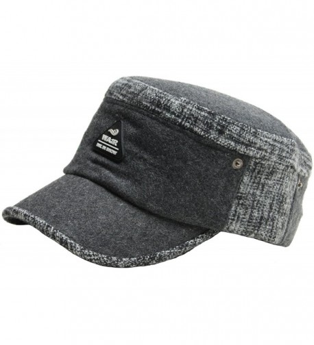 A121 Hot Fashion Winter Style Wool Warm Basic Design Army Cap Cadet Military Hat - Gray - CC12BZ0G64J