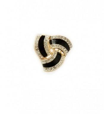 Fashion Scarf Ring Buckle Scarf Clip Triple Slide Jewelry Shiny Clothing - Gold Black - CG187I3RAO6