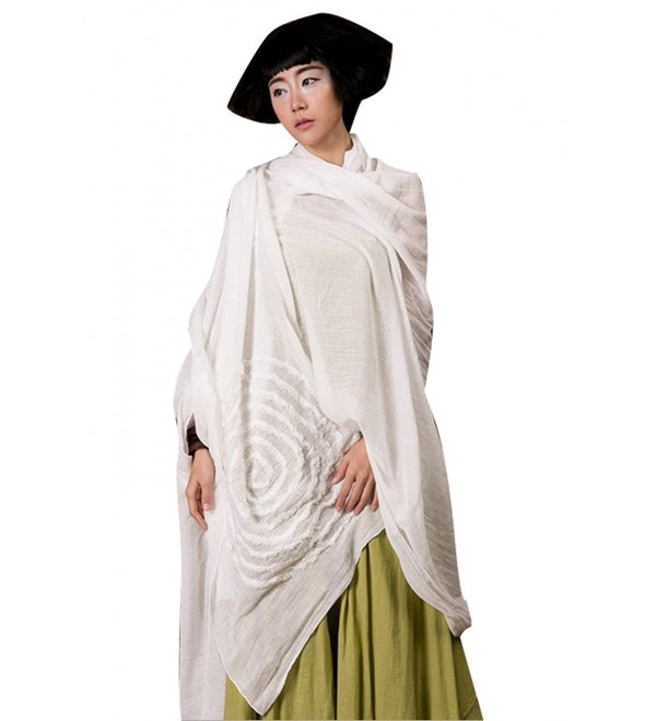 Yesno O159 Women Large Scarves Wraps Poncho Shawl for Dress Casual Embroidery 100% Cotton - CL12O87D51A