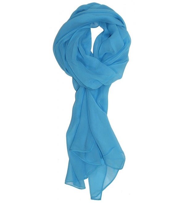 Ted and Jack - Solid Color Silk Blend Lightweight Accent Scarf - Sky Blue - CU12LX47S6R