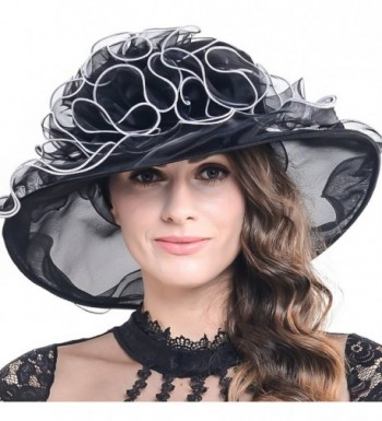 Women Kentucky Derby Church Dress Organza Hat Wide Brim Flat Hat (8 Colours) - Sm019-black - C612BSC25H1