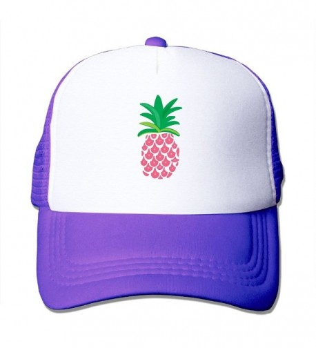 Adult Pink Pineapple Mesh Football Visor Cap Black - Purple - CF187QYW55T