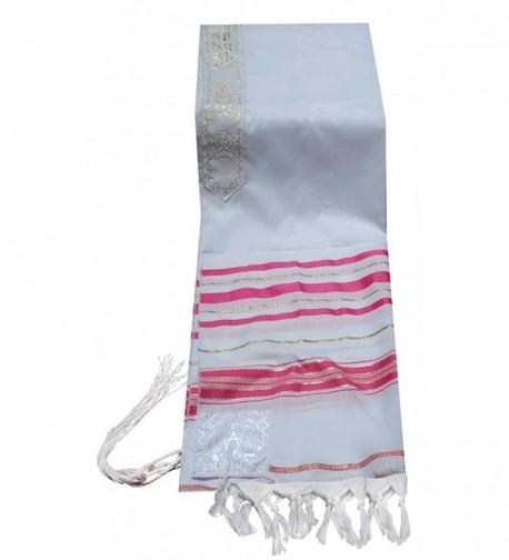 "Acrylic Tallit (imitation Wool) Prayer Shawl in Fuchsia and Gold Size 18"" L X 72"" W - CU114ELUWMJ"