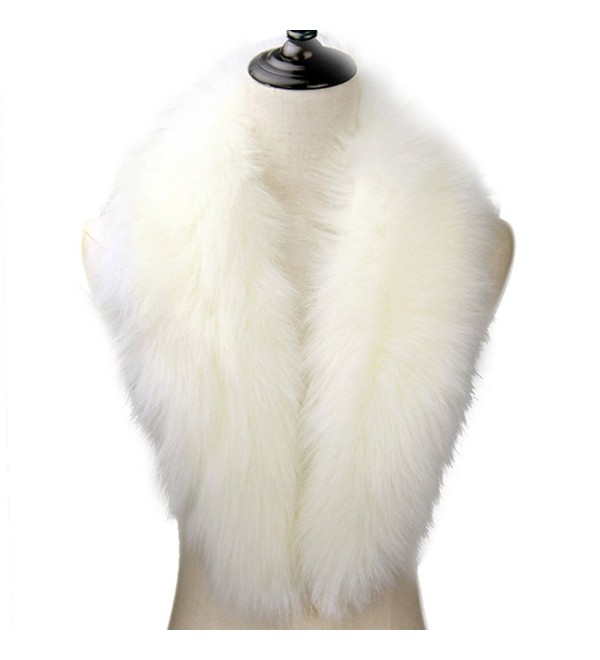 Dikoaina Extra Large Women's Faux Fur Collar for Winter Coat - White - CJ12K77TN8R