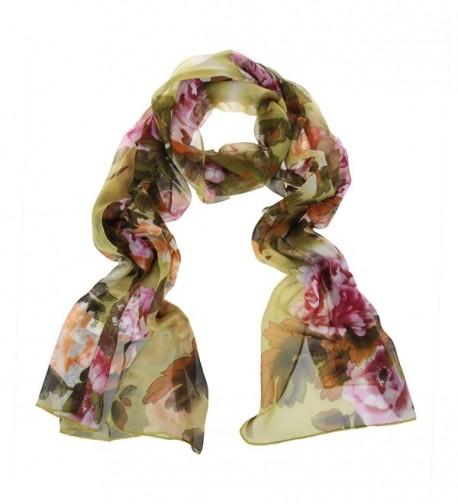 ChikaMika Floral Scarves for Women Lightweight Wrap and Shawls Girls Fashion Chiffon Scarves - Green - C5123FAFLF1