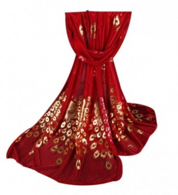 Deamyth Women Chiffon Scarf Peacock Printing Gold Stamping Long Wrap Shawl Scarves - Red - C012NDW4G1P