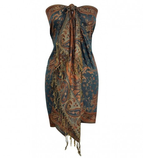Peach Couture Elegant Double Layer Reversible Paisley Pashmina Shawl Wrap Scarf - Green and Gold - C811ULN6MJ1