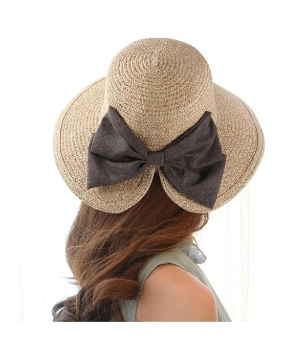 Aerusi Women Straw Woven Bowknot Decor Panama Summer Beach Sun Hat Trilby Fedora - Beige - CR18320IEU9
