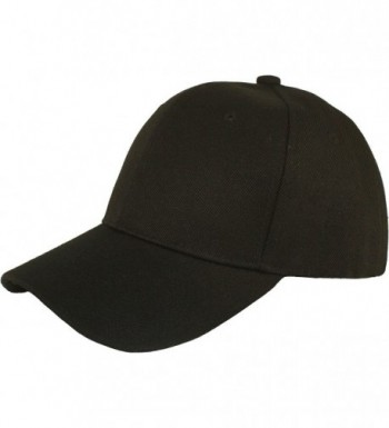 Jh Sports Plain Adjustable Velcro Baseball Cap - Black - C611H15OJ5L