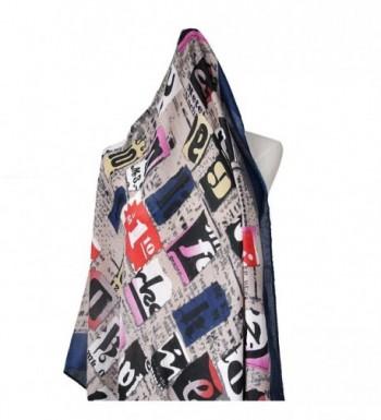 Shokim Womens Letter Oblong Fringe Blue 73 in Cold Weather Scarves & Wraps