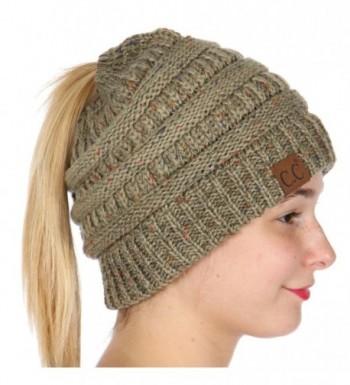 SERENITA C.C Unisex Knit Beanie Tail Soft Stretch Cable Messy High Bun Ponytail Beanie Hat - Sage - CL188OM4HNT