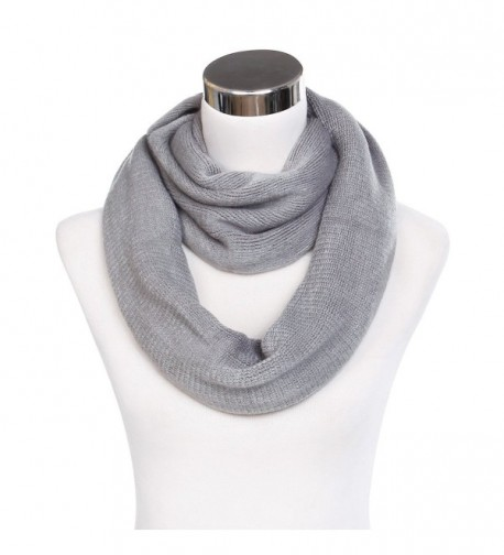 Premium Fine Knit Solid Color Winter Infinity Loop Circle Scarf -Diff Colors - Grey - CI129R2XHFX