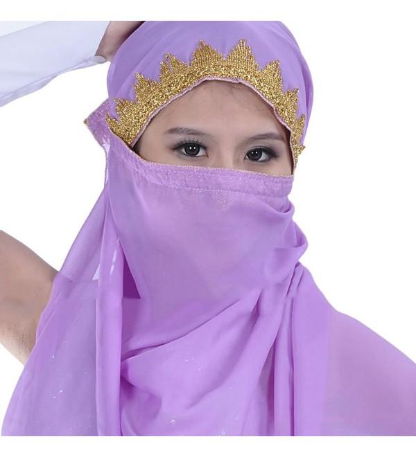 AvaCostume Chiffon Big Veil Shawl Skirt Scarf Gypsy Gold Trim Headscarf - Light Purple - C311YPYN4AB