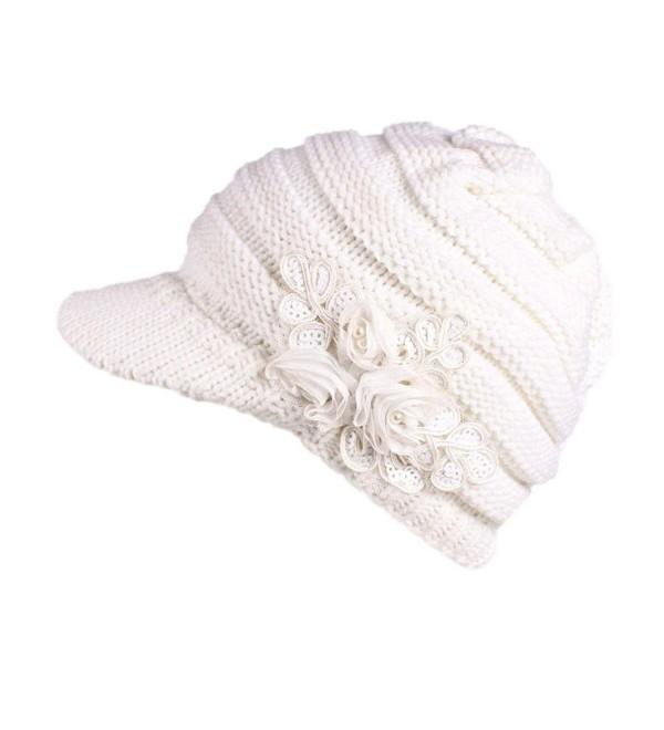 Elogoog Women Winter Beanie Knit Hat Warm Wool Snow Ski Caps Berets With Visor - White (Sequins Flower) - CZ1880EUMRE