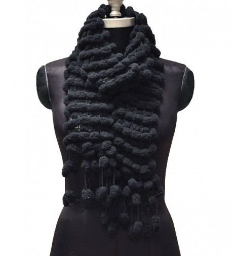 Women's 'Scarf' Chenille Pompom Scarf - Black - CM185XK232G