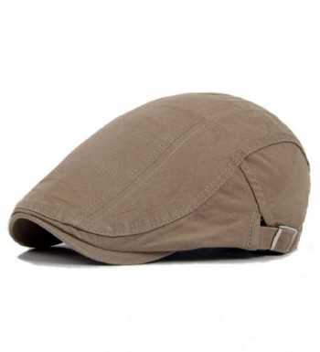 Gilroy Men Classic Solid Color Cabbie Newsboy Flat Ivy Hat Beret Cap - Light Khaki - CB12OCIZ5QV
