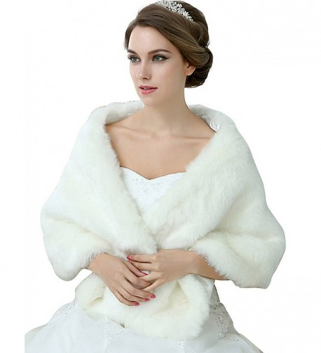 Sarahbridal Womnes Ivory Faux Fur Shawl Wrap Stole Cape for Wedding Dresses - 17013-iovry - C0186RD2LRS