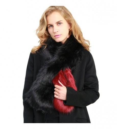 MissShorthair Women's Winter Faux Fur Scarf Colorful Collar Stole Shawl Wrap - 1 Red - CI186YKCQTD
