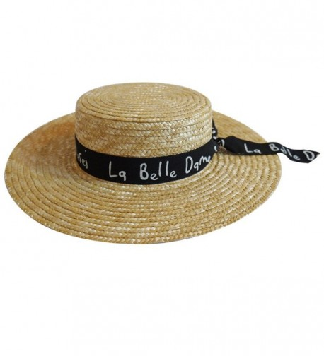 MAISON DE COCO Wide Brim 100% Natural Straw Adjustable Hat with Letter Scarf Panama Hat - Black - C412JHEM0FT