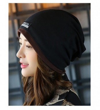 No.66 Town Unisex Adult Cotton Slouchy Beanie Skull Cap Cycling Hat Mult Colors - Black - C412N38ZJHM