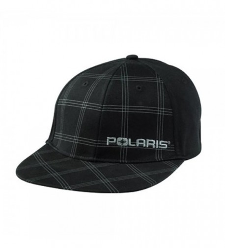 Polaris Black Plaid Checkered Teton Fitted Baseball Cap Hat Size S/M - C612K98WNEZ