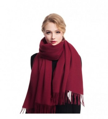 Cashmere Winter Solid Luxurious Shawls - Wine Red - CT1887SOLE7