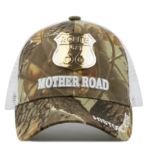 The Hat Depot 1100 Route Us 66 Mother Road Metal Logo Trucker Baseball Cap - Maple camo - CQ12CWYS87Z